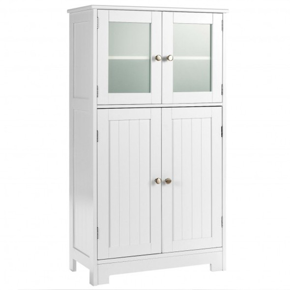 Bathroom Floor Storage Locker Kitchen Cabinet with Doors and Adjustable Shelf-White