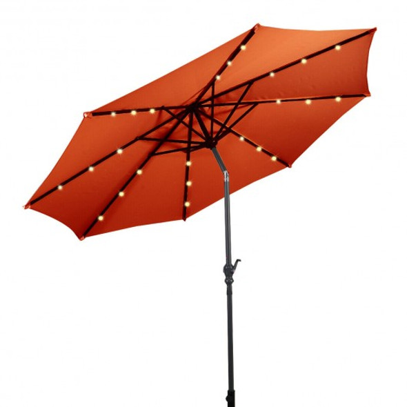 10 ft Patio Solar Umbrella with Crank and LED Lights-Orange - COOP70737OR