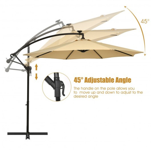 10 Ft Solar LED Offset Umbrella with 40 Lights and Cross Base for Patio-Tan