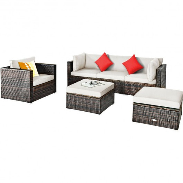 6 Pcs Patio Rattan Furniture Set with Sectional Cushion-White