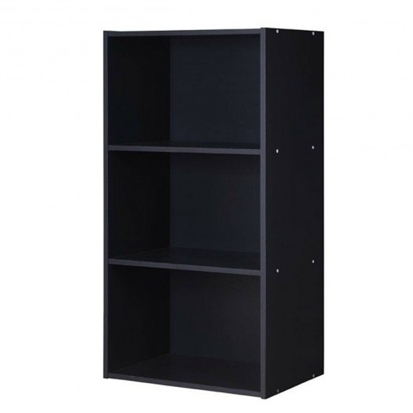 3 Open Shelf Bookcase Modern Storage Display Cabinet-Black