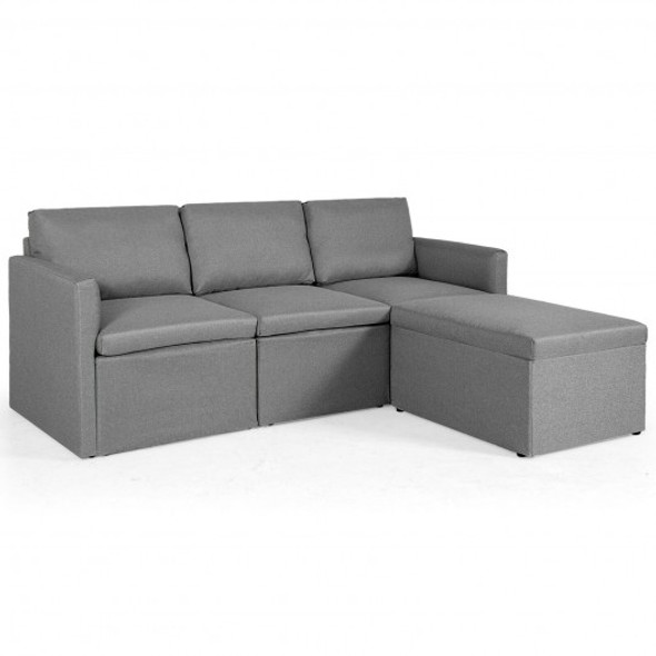 Convertible L-Shaped Sectional Sofa Couch with Reversible Chaise-Dark Gray