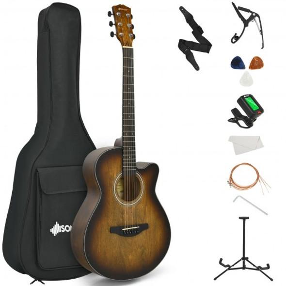 "40"" Full Size Cutaway Acoustic Guitar Starter Guitarra Bundle Kit -Coffee"