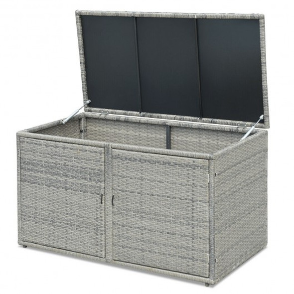 88 Gallon Garden Patio Rattan Storage Container Box - COHW62862GR