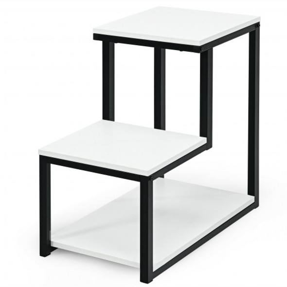 3-Tier Sofa Side Table Night Stand-White