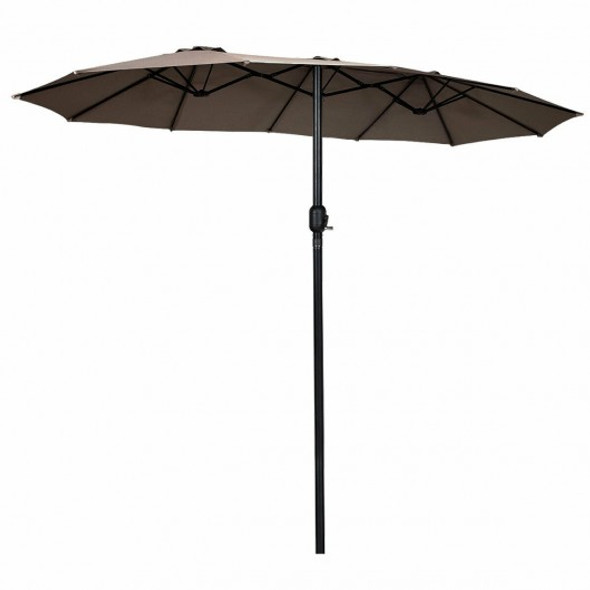 15' Twin Patio Umbrella Double-Sided Outdoor Market Umbrella without Base -Tan