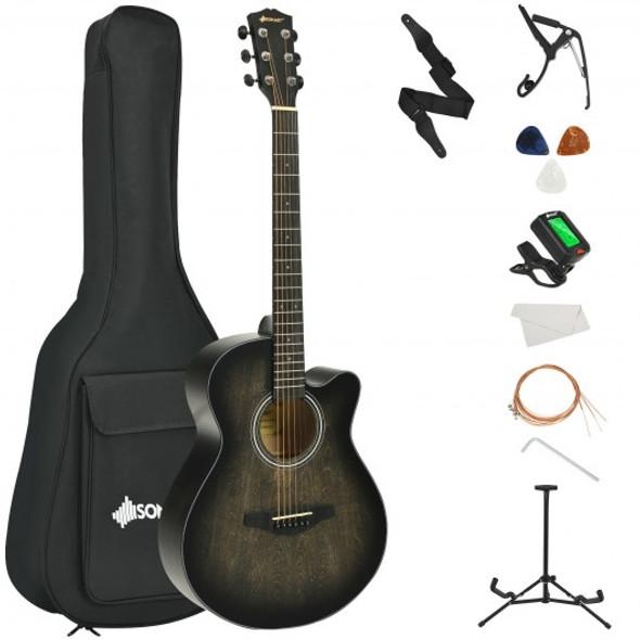 "40"" Full Size Cutaway Acoustic Guitar Starter Guitarra Bundle Kit -Black"