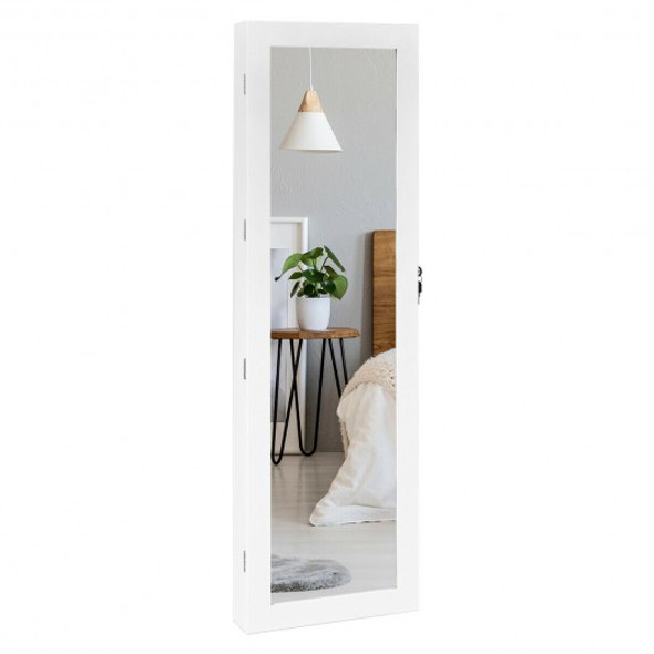 Wall Mounted Lockable Mirror Jewelry Cabinet with LED Light - COJV10083