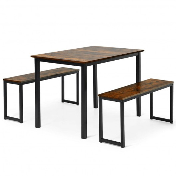 3-Piece Kitchen Dining Table Set with 2 Benches for Limited Space -Coffee