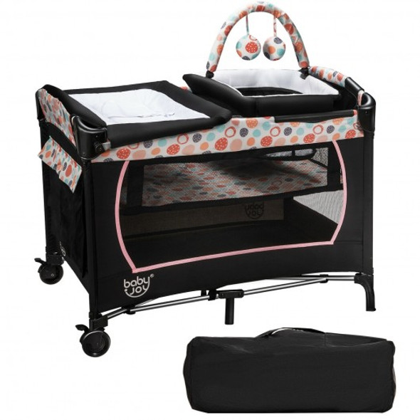 4-in-1 Convertible Portable Baby Playard with Changing Station-Pink