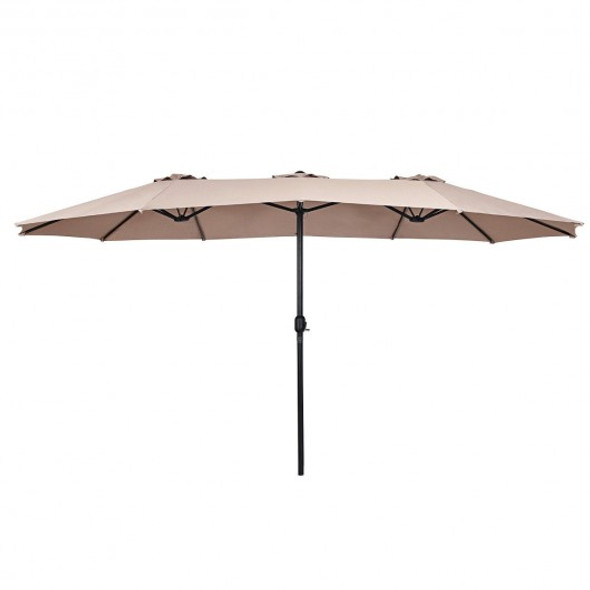 15' Twin Patio Umbrella Double-Sided Outdoor Market Umbrella without Base-Beige