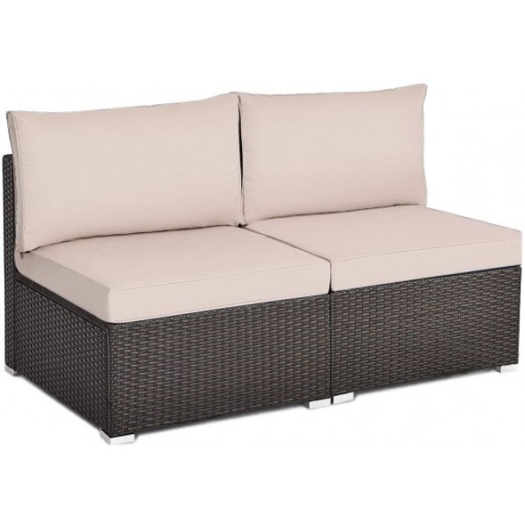 2 Pieces Patio Rattan Armless Sofa Set with 2 Cushions and 2 Pillows-Brown