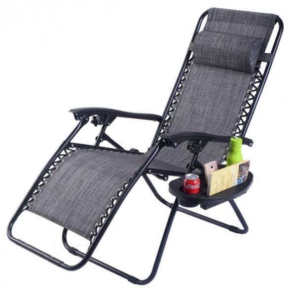 2 pcs Folding Lounge Chair with Zero Gravity-Gray