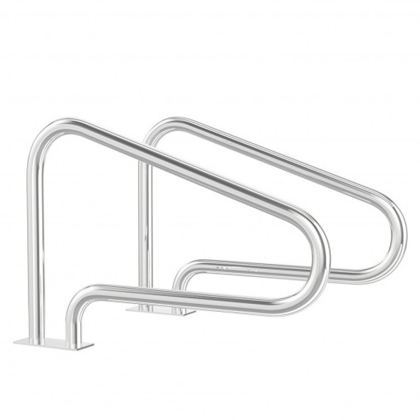 2 Pcs Stainless Steel Hand Rail Set with Quick Mount Base for Swimming Pool in Summer