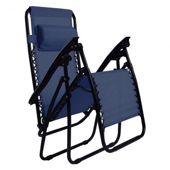 Outdoor Folding Zero Gravity Reclining Lounge Chair-Blue