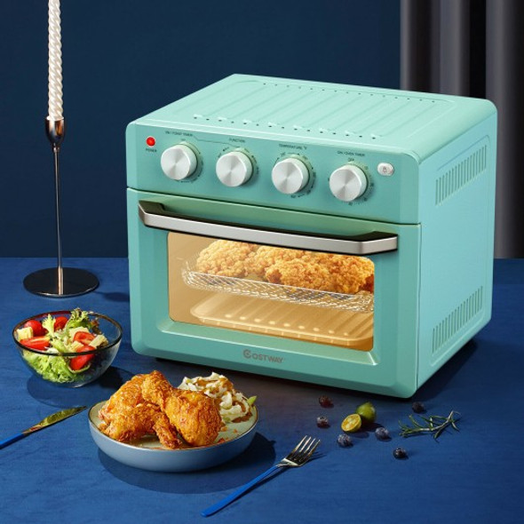 19 Qt Dehydrate Convection Air Fryer Toaster Oven with 5 Accessories-Green