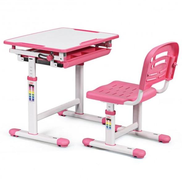 Height Adjustable Childrens Desk Chair Set -Pink