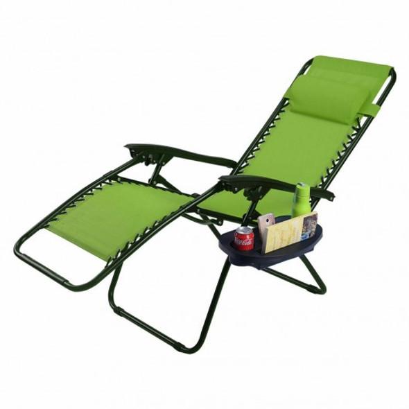 Outdoor Folding Zero Gravity Reclining Lounge Chair-Green