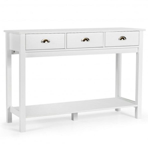 Modern Tall Entryway Table with 3 Drawers and 2 Tier Storage Shelves for Hallway and Living Room