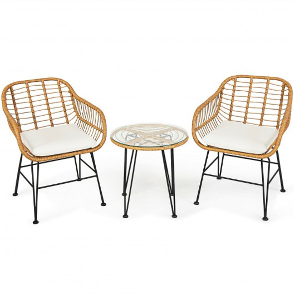 3Pcs Rattan Furniture Set with Cushioned Chair Table-White