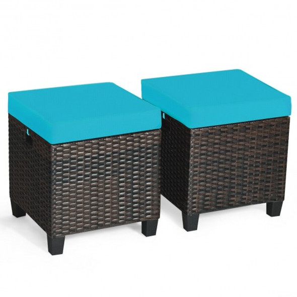 2PCS Patio Rattan Ottoman Cushioned Seat-Blue