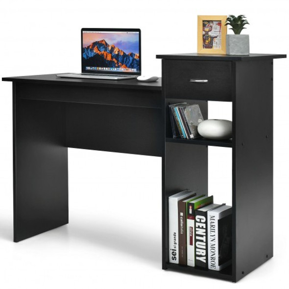 Computer Desk PC Laptop Table with Drawer and Shelf-Black