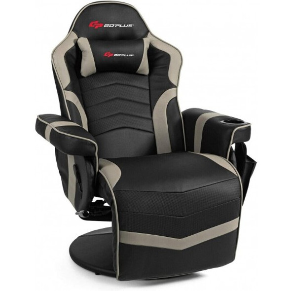 Ergonomic High Back Massage Gaming Chair with Pillow-Gray
