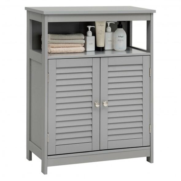 Wood Freestanding Bathroom Storage Cabinet with Double Shutter Door-Gray