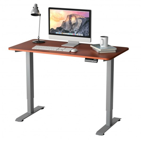 Electric Height Adjustable Standing Desk with Memory Controller-Brown