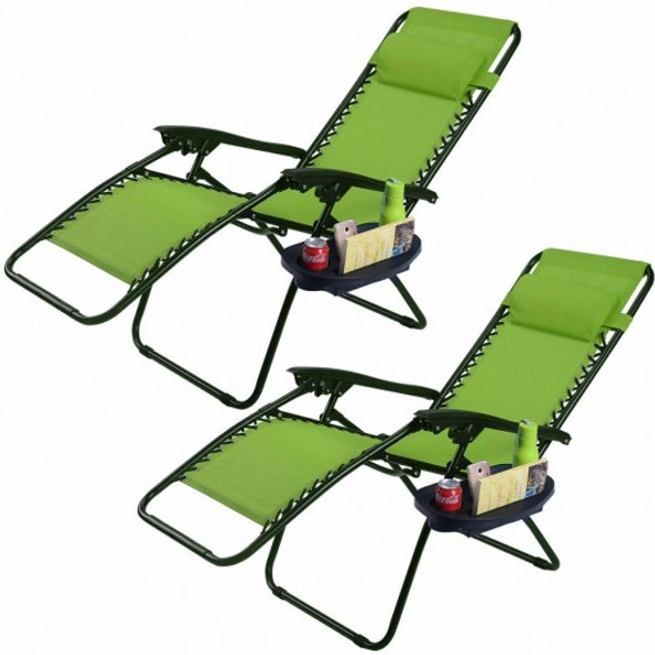 2 pcs Folding Lounge Chair with Zero Gravity - COOP70528-2LS