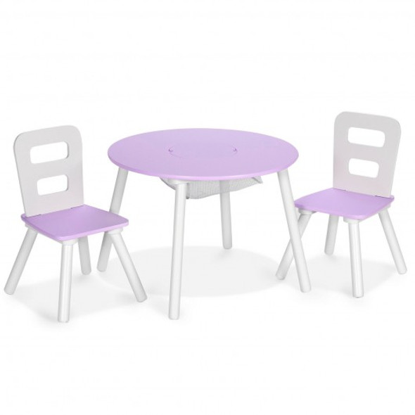 Wood Activity Kids Table and Chair Set with Center Mesh Storage for Snack Time and Homework-Purple