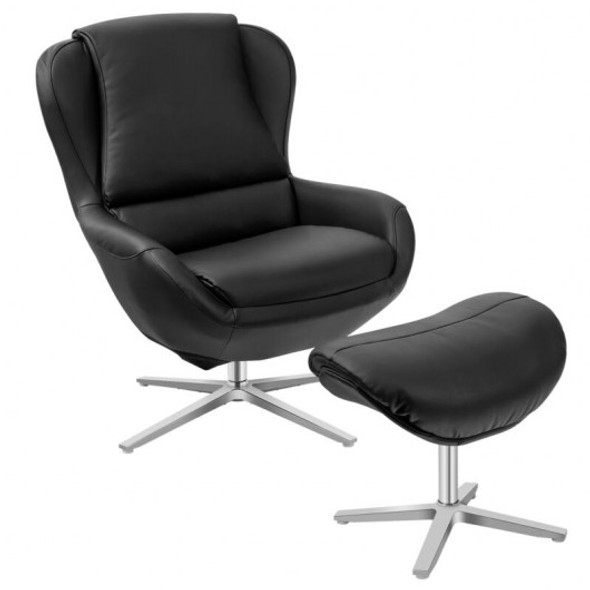 Swivel Top Grain Leather Lounge Armchair Rocking Chair with Ottoman-Black