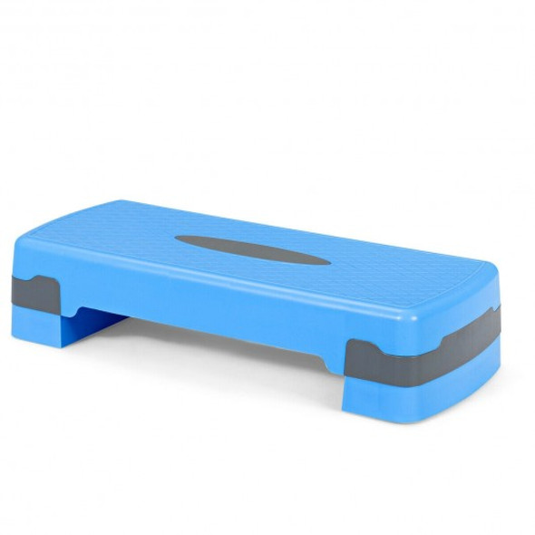 """26"""" Height Adjustable Aerobic Exercise Step Deck with Risers and Non-Slip Surface-Blue"""