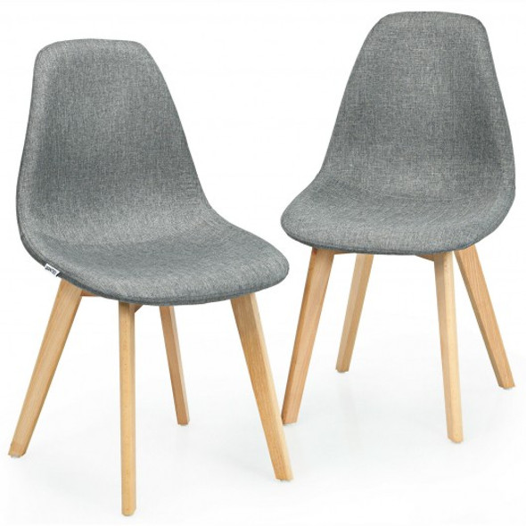 2Pcs Modern Dining Chair Set with Wood Legs and Fabric Cushion Seat