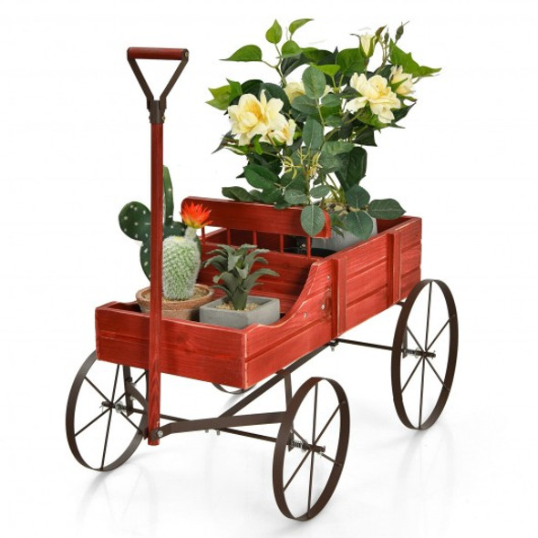 Wooden Wagon Plant Bed With Wheel for Garden Yard-Red