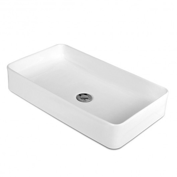 """24"""" x 14"""" Rectangle Bathroom Vessel Sink with Pop-up Drain"""