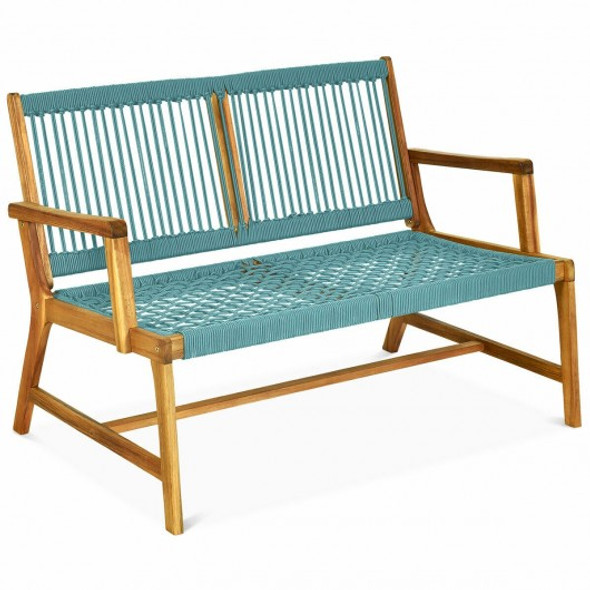 2-Person Patio Acacia Wood Yard Bench-Turquoise