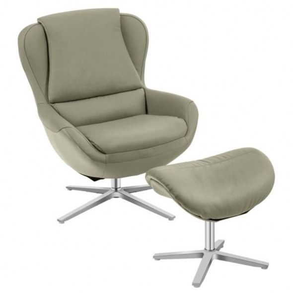 Swivel Top Grain Leather Lounge Armchair Rocking Chair with Ottoman-Gray