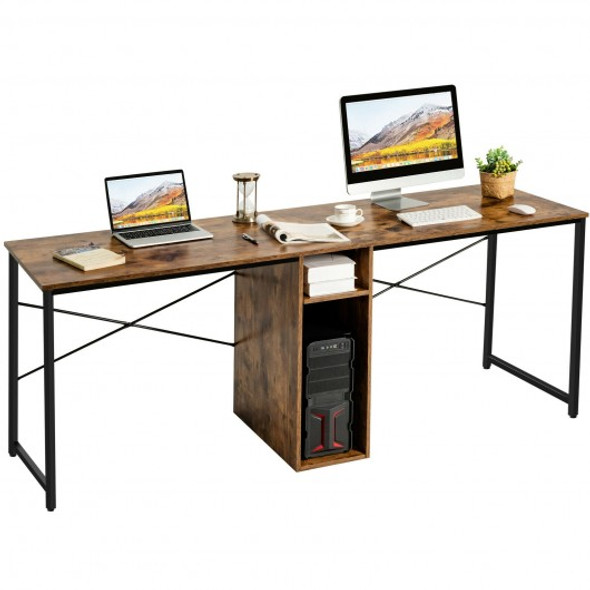 """79"""" Multifunctional Office Desk for 2 Person with Storage-Brown"""