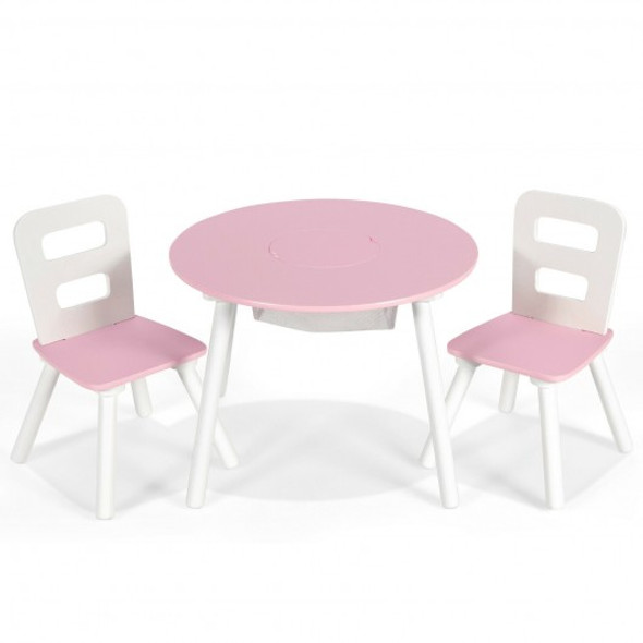 Wood Activity Kids Table and Chair Set with Center Mesh Storage for Snack Time and Homework-Pink
