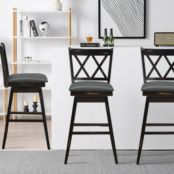 2 Pieces 29 Inches Swivel Counter Height Barstool Set with Rubber Wood Legs-Black