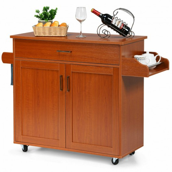 Rolling Kitchen Island Cart with Towel and Spice Rack-Cherry