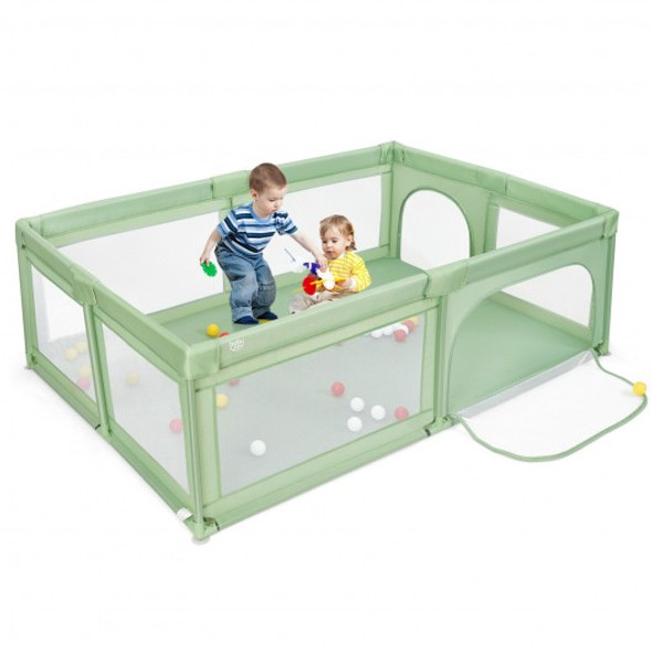 Extra-Large Safety Baby Fence with 50 Ocean Balls-Green