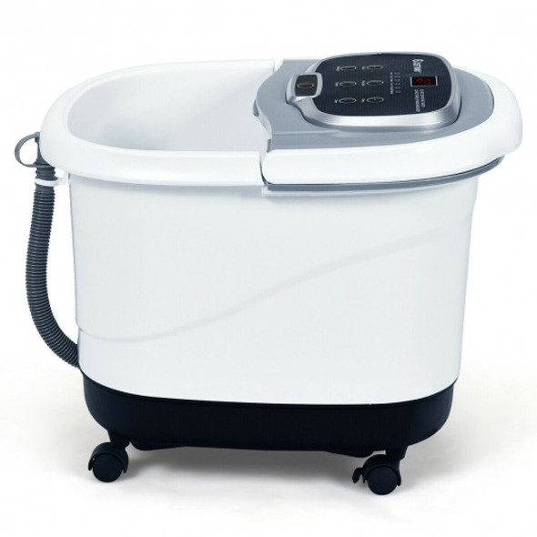 Portable All-In-One Heated Foot Bubble Spa Bath Motorized Massager-Gray