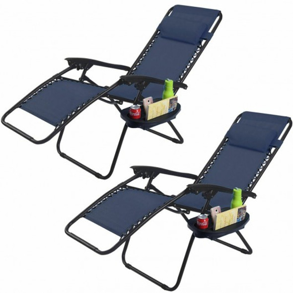 2 pcs Folding Lounge Chair with Zero Gravity - COOP70528-2NY