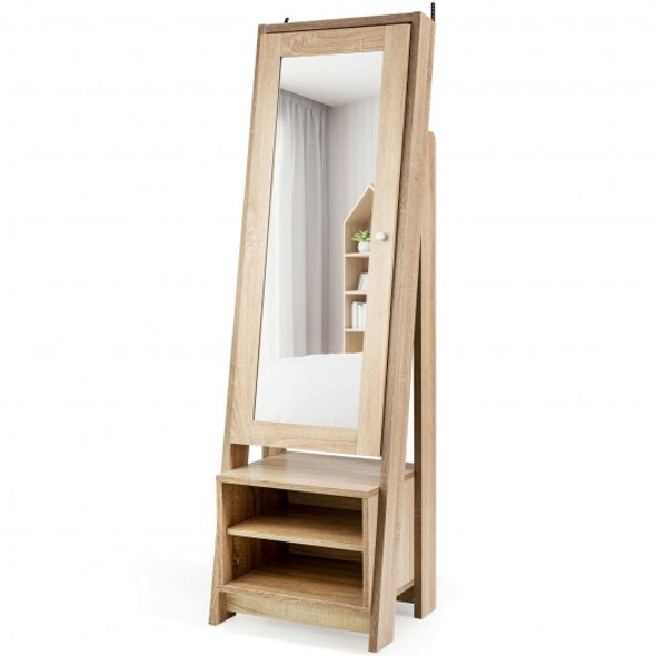 2-in-1 Wooden Cosmetics Storage Cabinet with Full-Length Mirror and Bottom Rack