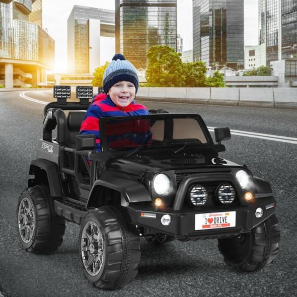 12V 2 Seater Kids Ride On Car w/ Storage Room-Black