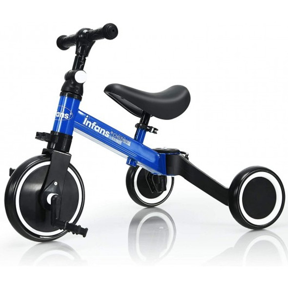 3 in 1 3 Wheel Kids Tricycles with Adjustable Seat and Handlebarfor Ages 1-3-Blue