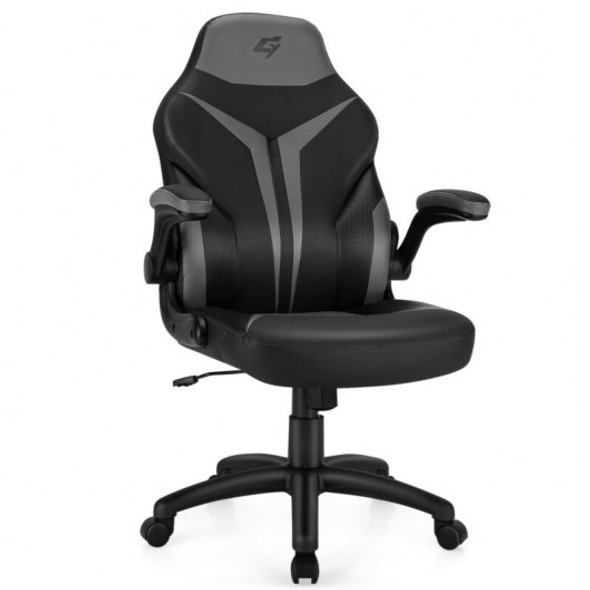 Height Adjustable Swivel High Back Gaming Chair Computer Office Chair-Gray