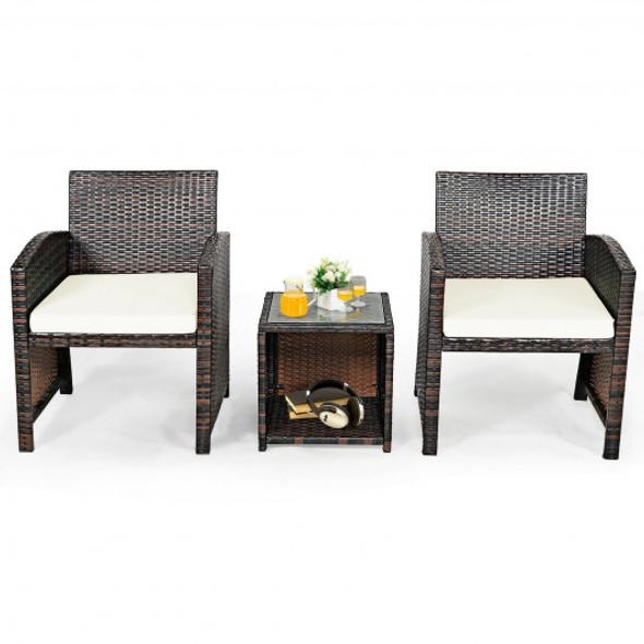 3 Pieces PE Rattan Wicker Furniture Set with Cushion Sofa Coffee Table for Garden-White